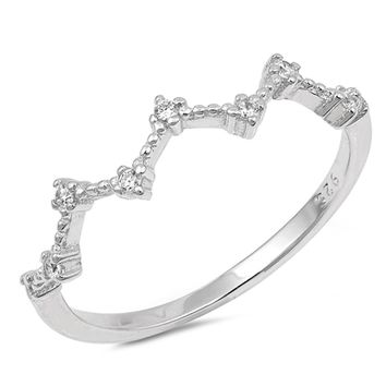Feminine Sterling Silver Wave and Dot Cubic Zirconia Ring