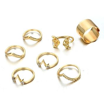 LINY - Boho Gold Midi Ring Set