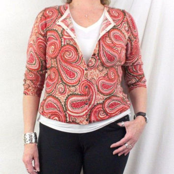 Talbots Sweater L petite PL size Orange Red Pink Paisley 3.4 Sleeve Light Wool