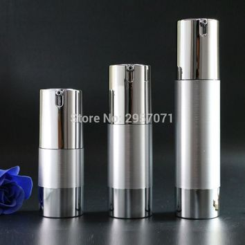 Luxury Gold Silver Empty Airless Pump bottles Mini Portable Vacuum Cosmetic Lotion Treatment Travel bottle 10pcs Free Shipping