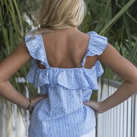 Winged Victory Blue Woven Ruffle Detail Top