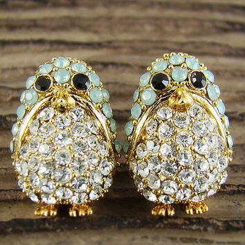 Women's Teen's Penguin Stud Earrings Animal Theme Gold Plated Crystal Aqua Cool Mint Green Nickel Free