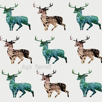 Deer Photography, Abstract Art Print, Woodland Deer, Rustic, Tan Brown, Emerald Green, Beige, Grey, Animal Decor, 8x12