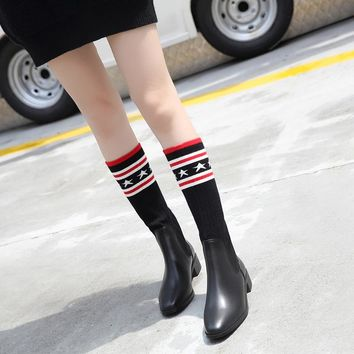 Umida Brand Women's Boots Genuine Leather Over The Knee High Boots Winter Knitted Socks Boots Long Thigh High Boots Elastic Slim