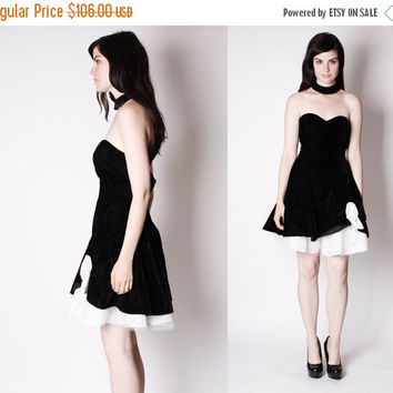 Final SALE 80% Off - Vintage Prom Dress - Vintage Party Dress - Black and White Dress - Black Velvet Dress - 3029