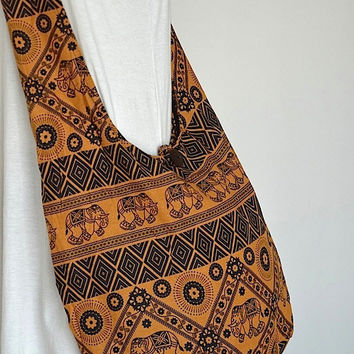Hippie Elephant Printed Cross body Bag Hobo Messenger Peace Power Love Purse Coffee Brown LUV355