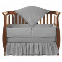 Heavenly Soft Minky Dot Solid Gray Baby Crib Bedding by American Baby Company