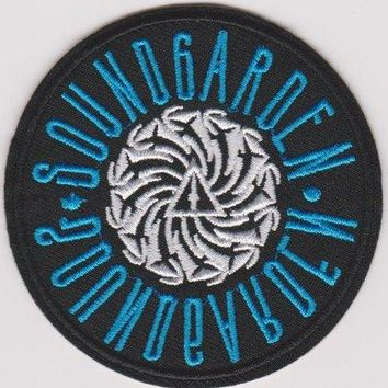 Soundgarden Iron-On Patch Round Blue Letters Logo