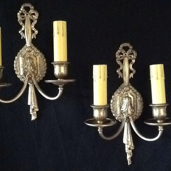 Vintage Pair Art Deco Sconces Double Light 1920s