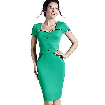 Women's Summer Brief Pinup Short Sleeve Square Neck Work Button Bodycon Chic Pencil Dress