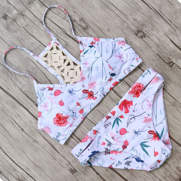 2017 Summer Plus Size Bikini Swimsuit High Waist Swimwear Women Sexy Floral Swimsuit Female Swim Swimming Bathing Suits