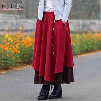 ICHOIX winter Women Vintage Skirt Casual High Waist A Line Contrast Color Two Layer Skirt Female Ankle Length Skirt with Button