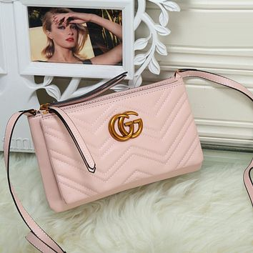 Gucci Women Fashion Leather Satchel Shoulder Bag Handbag Crossbody Set Two Piece