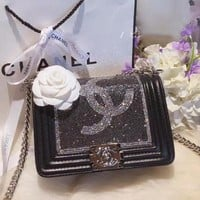 "Hot Sale ""CHANEL"" Popular Women Shopping Bag Leather Metal Chain Water Drill Shoulder Bag Crossbody Satchel Black I-WXZ2H"