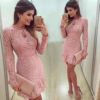 2017 Keyhole Neck Sheath Cocktail Dresses Mini Short Blush Pink Lace Beaded Long Sleeves Party Prom Gowns JW09