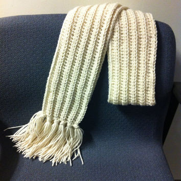 Hand Crocheted Ribbed Scarf