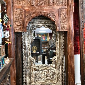 India Vintage Wooden Arches Jharokha Natural TEAK Wood Window Frame 18C Conscious Design