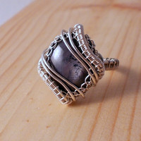Star Ruby Sterling Silver Ring,  Wire Wrapped Silver Ring, OOAK Jewelry
