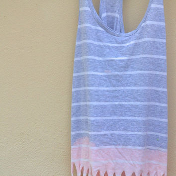 Striped dipdyed ombred tank with fringe