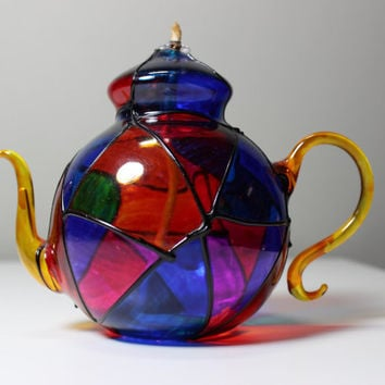 Retro Hand Blown Glass Multi-color Oil Lamp