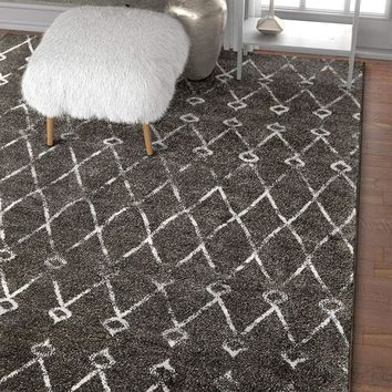 6108 Charcoal Moroccan Lattice Distressed Vintage Area Rugs