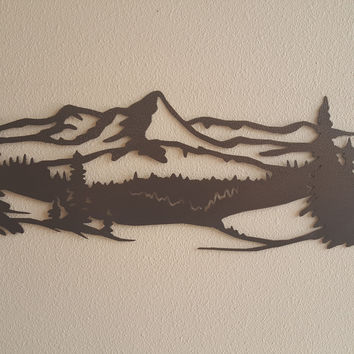Mountain Scene with Pine Trees Metal Wall Accent