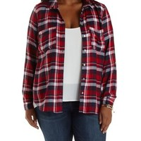 Plus Size Med Red Combo Plaid Button-Up Top by Charlotte Russe