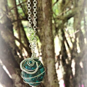 Turquoise steampunk necklace boho jewelry wire wrapped pendant semi precious unique one of a kind silver plated spiral blue green