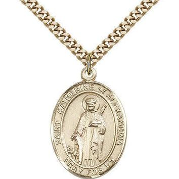 "Saint Catherine Of Alexandria Medal For Men - Gold Filled Necklace On 24"" Cha... 617759855494"