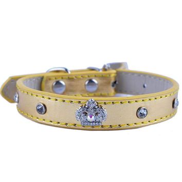 Rhinestone Dog Collar Adjustable Diamante Buckle Metallic Leather Studded Collar For Dogs Small Teddy Pet Supplies
