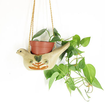 Vintage Hanging Planter -- Bird Planter -- 70s Pottery Planter with Jute Twine -- Animal Planter -- Cactus, Succulents, Indoor Garden Decor
