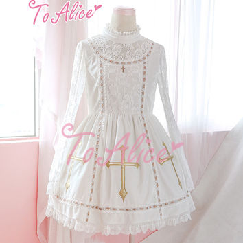 """Song for Black & White"" Gorgeous Lolita Cross Pendant Lace Mesh Sleeves Cute Dress Limited"
