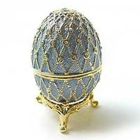 Light Blue/Lavender Faberge Style Egg Box on Stand set with Swarovski Crystals includes Ring Insert