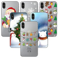 iPhone X Case X-mas Santa Claus SnowFlakes TPU Christmas Tree Gifts Cactus Phone Covers For iPhone 10