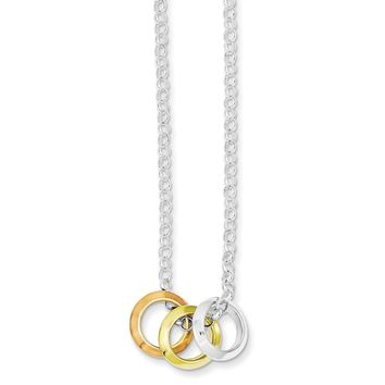 Sterling Silver Rhodium Plated, Yellow GP & Rose GP, 3 Circle Necklace
