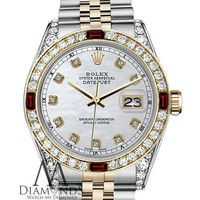 Unisex Rolex 36mm Datejust 2 Tone White MOP Accent Dial Ruby & Diamond Bezel