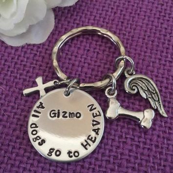 Pet Memorial Jewelry - Personalized Dog Memorial Keychain - Pet Loss Gift - All dogs go to heaven - Dog Remembrance - Keychain Fur B