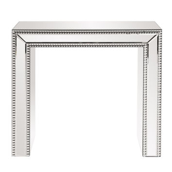 Beaded Glass Trimmed Mirrored Side Table