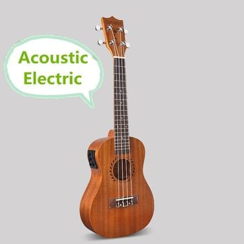 Concert Acoustic Electric Ukulele 23 Inch Guitar 4 Strings Ukelele Guitarra Handcraft Wood White Guitarist Mahogany Plug-in Uke