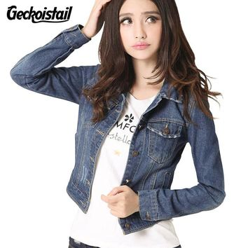 Trendy Geckoistail 2017 Autumn Women Vintage Cropped Denim Jacket Short Long-sleeve Cardigan Coat Jeans Women Fashion Clothes Outerwear AT_94_13