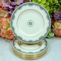 6 Beautiful Royal Doulton Porcelain Plates ~ Albany Floral Flowers Gold