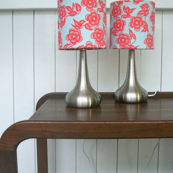 Two fabric lamps, matching lampshades and touch light bases - pink & blue designer fabric