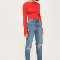 MOTO Mid Blue Ripped Mom Jeans | Topshop