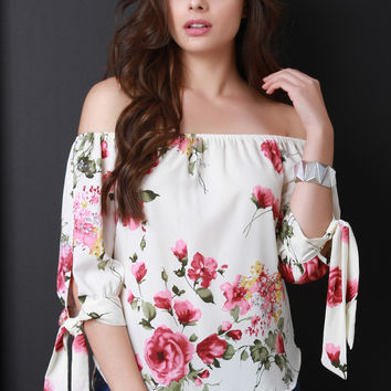 Floral Bardot Self-Tie Sleeve Top | UrbanOG