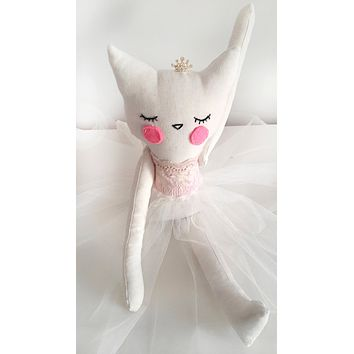 Handmade Plush Animal Doll nursery decor, Princess Kitty Ballerina