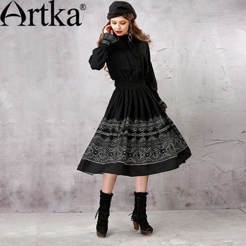 Artka Women's Winter New Ethnic Printed Chiffon Dress Vintage Stand Collar Lantern Sleeve Elastic Waist Wide Hem Dress LA15855Q