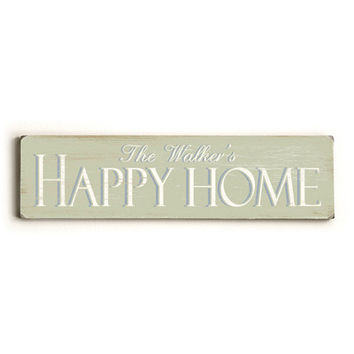 Personalized Happy Home Wood Sign