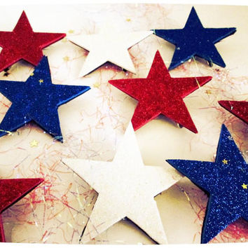 4th of July Star  Glitter Hair Clips 10 pack