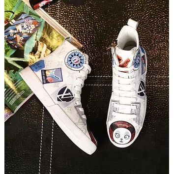 LV Louis Vuitton new tide brand graffiti printing breathable women's high-top sneakers White