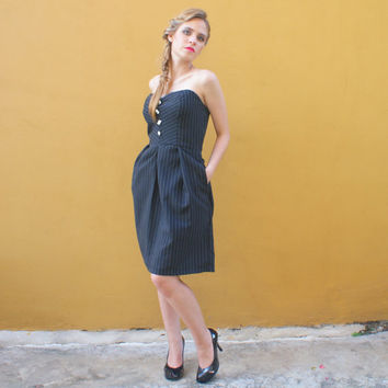 Strapless Dress in Black Pinstripe Mad Men Style FINAL SALE